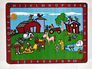 """Educational Rug For Schools - Day Care - Kids Room 4'.4"""" X 5'.6"""" ABC BARNYARD."""