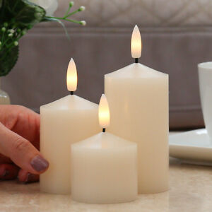 Authentic Flame Battery Flickering LED Candle Lights Ivory Smoked Glass Jar Wax