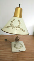 Vintage Mid Century Metal Tole Lamp Cream White Gold Paint Desk or Wall Mount