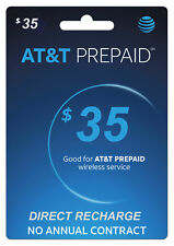 AT&T Prepaid $35 Refill Top-Up Prepaid Card / DIRECT RECHARGE