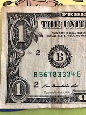 """LADDER 5678 - ONE TRIPLE in $1 One Dollar Bills """"FRB - NEW YORK"""" - B 5678 3334 E"""