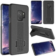 For Samsung Galaxy S9 - HARD HOLSTER KICKSTAND CASE COVER with BELT CLIP BLACK