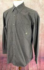 Ariat Pro Series Cowboy Rodeo Button Down Long Sleeve Brown Check Shirt Men's M
