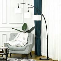 HOMCOM Arc Floor Lamp w/3 Hanging Drum Shape Lampshade, and Flexible Steel Pole