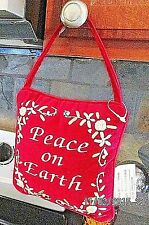 "Hanging ""Peace on Earth"" Small Red Cushion Christmas Holliday Decor"