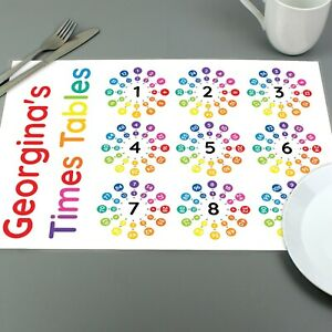 Personalised Educational Times Tables Placemat - Birthday Learning School Gift