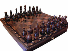 BLACK AND BROWN OBSIDIAN CHESS SET BOARD GAME HANDMADE STONE CHESS SET DRAWERS