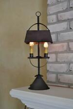 "Captains Table Lamp 22"" x 8"" Double Candlelight Farmhouse Country Black Metal"