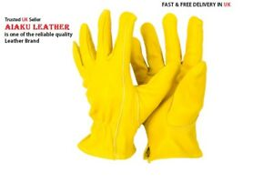 AIAKU 100% GENUINE COW LEATHER YELLOW  LORRY DRIVERS   SAFETY GLOVES