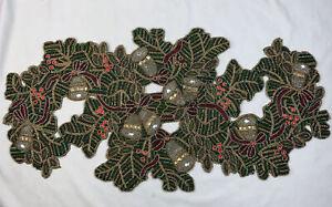 "KIM SEYBERT Christmas Holiday Beaded Table Runner EUC 18"" x 35"""