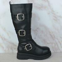 Womens Ladies Zip Up Chunky Buckle Platform Calf High Ankle Boots Shoes Size