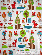 Woodland Animal Deer Bear Cotton Fabric RJR Woodland Park White ~ By The Yard