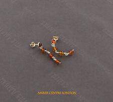 Modern Italienisches Design Echte Ostseebernstein Ohrringe 9 karat Gold GE0120