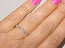 Nice 14K White Gold Diamond THIN Wedding Anniversary 1.8mm Band Guard Ring Sz 7