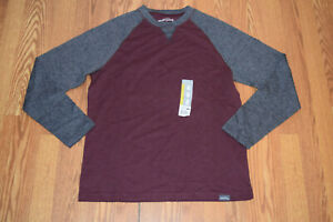 NEW Mens EDDIE BAUER Two-Toned Burgundy Heather Charcoal L/S Crew Shirt 2XL