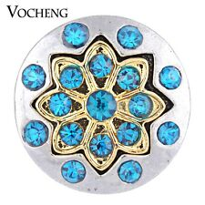 Flower Snap Charms Vocheng 18mm Blue Crystal Interchangeable Jewelry Vn-1129