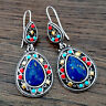 925 Silver Boho Ear Hook Dangle Drop Women Gemstone Earrings Jewelry Charm Gift