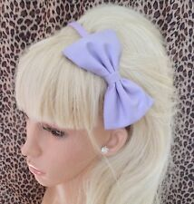 "NEW PLAIN LILAC COTTON FABRIC 5"" SIDE BOW ALICE HAIR HEAD BAND GIRLS OR ADULT"