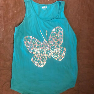 Crazy 8 Blue Tank Top w/Silver Butterfly - Girls Size 14 - Beautiful