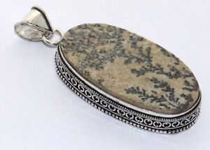 """Germany Dendritic Opal 925 Silver Plated Vintage Pendant 2.9"""", AA990"""