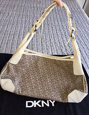 $225 DKNY Signature Monogram Beige Tan Canvas White Leather Trim Handbag