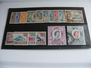 Cyprus 1955-1960 Queen Elizabeth 11 Complete Definitive Set Fine Used; SG173/187