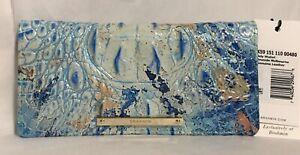 Brahmin Melbourne ADY Slim Bifold Wallet Clutch SEASIDE Ocean Blue NWT RARE!!