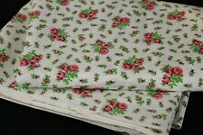 Vintage Pink Rose Print Cotton Fabric 4 3/4 Yards Quilt Craft Sewing