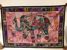 Handmade Indian Wall Hanging Rajasthani Elephant Embroidery Patchwork Tapestry
