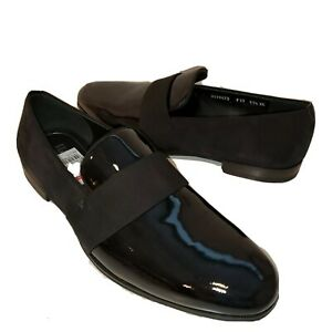 Salvatore Ferragamo Mens Loafers slip on Black Patent Leather Bryden 11.5 EE new