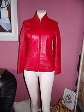 womens red leather jacket size 10 BADESCU Leather by WILLY BOGNER
