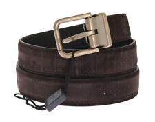 NEW $320 DOLCE & GABBANA Belt Brown Leather Gold Buckle Italy s. 100cm / 40in