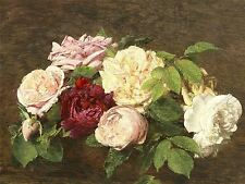 HENRI FANTIN LATOUR FRENCH ROSES NICE TABLE OLD ART PAINTING POSTER BB5612A