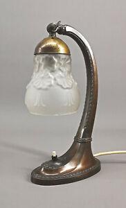 8768011 Tischlampe Art déco um 1920 bronzierter Metallfuß mit Ornament H31cm