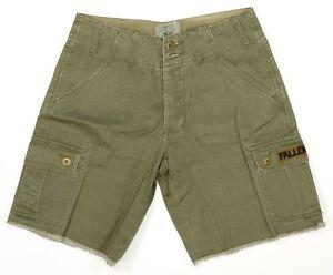 Fallen Superávit Cargo Hombre 100% Algodón 7 Bolsillo Shorts Fatiga Verde 28 New