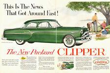 1953 Classic Car Ad '53 PACKARD CLIPPER Green 4dr Sedan $2500 2 pg ad  021419