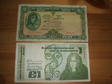 2 X OLD IRISH ONE POUND BANKNOTE 1976