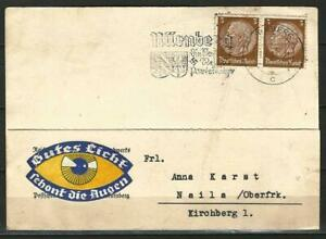 Germany 1936 - Mi-513 SG-494B on Card Letter Nuernberg to Naila