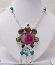 "Gemstone Silver Overlay Necklace Sz 18"" Solar Quartz Tiger Eye Pearl & Mix"