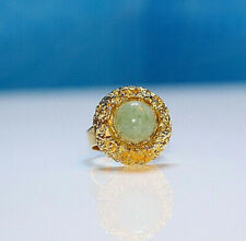 Vintage Beautiful Jade Stone Look Like Gold Plated Metal Signed Ring