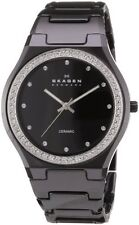 Skagen Black Swarovski Dial Black Ceramic Quartz Ladies Watch 813LXBC
