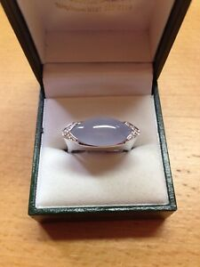18CT (750) White Gold Chalcedony & Diamond Ring in 'P' RRP £1375