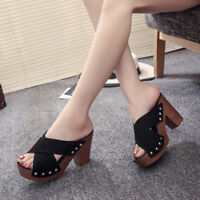 Women's Block Wedge Heels Summer High Platform Open Toe Shoes Sandals Slippers