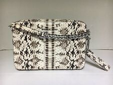 NWT!! Michael Kors Camera Bag Embossed Leather Crossbody Natural Python