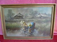Bello, Vecchio Dipinto__Asiatica Mogli Dei Pescatori __Firmato__