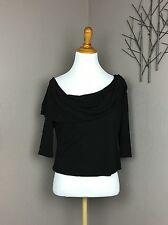 Reem Acra Black Jersey Ruched Off Shoulder Cropped Blouse 6