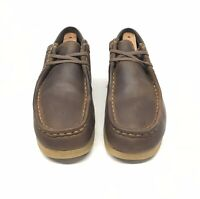 Clarks Wallabee Brown Leather Moc Toe Shoe Women's Size 7.5 M Lace Up Crepe Sole