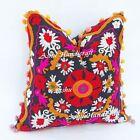 16'' Indian Cotton Embroidery Suzani Design Pom Pom Decor Cushion Pillow Cover h