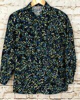 J.Jill button down shirt corduroy womens XS floral blue teal tunic long slv BX5