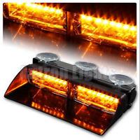 "8"" LED 16W Warning Lamp Vehicle Strobe Dash Flash Emergency Light Bar Amber 12V"